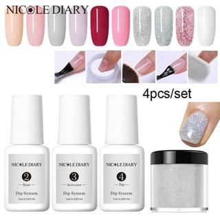 NICOLE DIARY 4Pcs/Set Dipping Powder Nail Starter Kit Tips Nail Art Liquid Gel