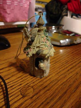 Bradford Edition Wood Thatched Birdhouse Ornament