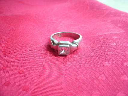 Hefty Vintage Sterling Silver Ring with clear stone Size 7.5