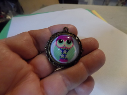 Glass domed pendant charm Owl in blue flowered dress and pink head