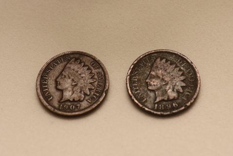 1907 and 1896 Indian head pennies.