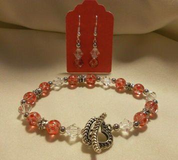 Heart Glass Bead Bracelet & Earrings Jewelry Set NEW Handmade