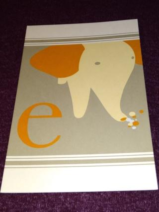 Alphabet Greeting Card - Elephant (e)