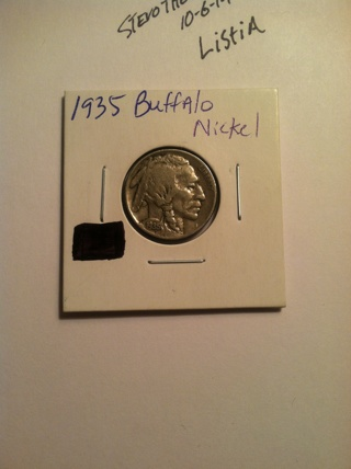 Circulated 1935 Buffalo nickel
