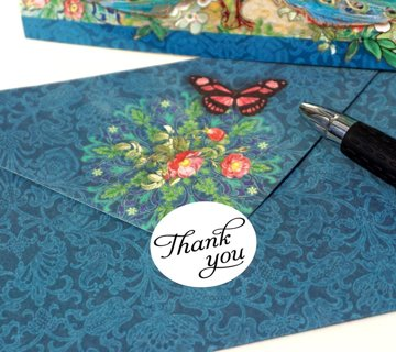 """50 Thank You Stickers - 1"""" Round"""