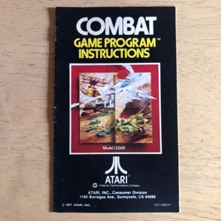Combat video game instruction manual for Atari 2600