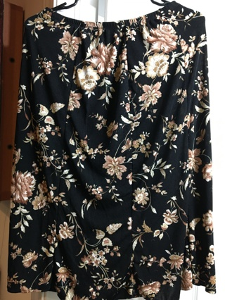 BRIGGS New York Ladies PM Petite Medium (10) Stretch Black Lighterweight Floral Skirt-Like NEW