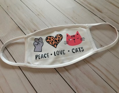 Peace Love Cats face mask Reusable Opening for your own filter In Stock ready to ship from NC USA