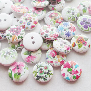 [GIN FOR FREE SHIPPING] 100Pcs Spring Flowers Wood Buttons 15mm Sewing