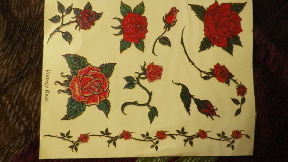Vintage Rose Temporary Tattoos