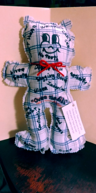 """Comical """"Over the Hill"""" Doll (B-7630) Blue & White checked"""