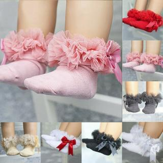 Infant Baby Kids Girls Princess Bowknot Sock Lace Ruffle Frilly Trim Ankle Socks