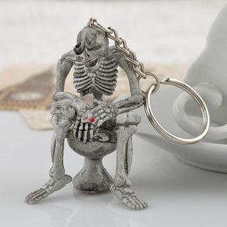 Creative Skull Toilet Purse Bag Rubber KeyChain Keyring Gift Key