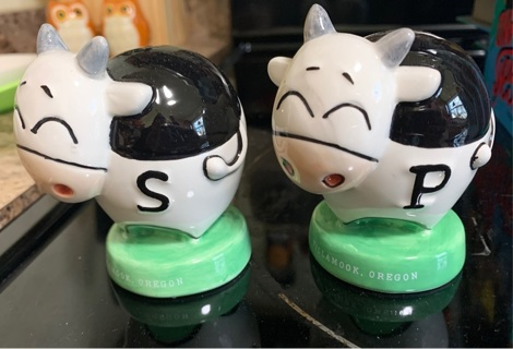 Cow salt and pepper shakers from Tillamook Oregon