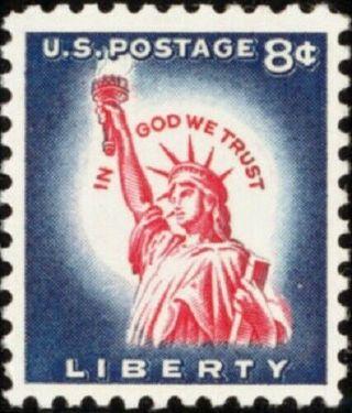 1958 8c Statue of Liberty, In God We Trust Scott 1042 Mint NH [LT04]