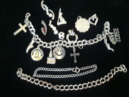 》》 3 Charm Bracelets & Charms 《《 All Silver