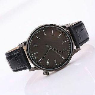 Fashion Mens Luxury Black Dial Stainless Steel Leather Analog Quartz Wrist Watch