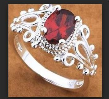 NEW LUXURY Sterling Silver .925 Ring Stamped Sapphire Ruby Red FREE SHIPPING