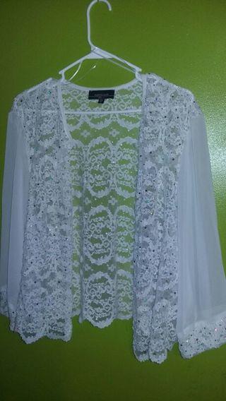 Very pretty womens 2x R M Richards white see through dress jacket