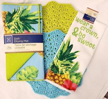 "Crochet 2 - 9"" Dish Cloth/Wash Cloths/1 EVERYDAY MICRO Dish Towel AND 1 DISH DRYING MAT"