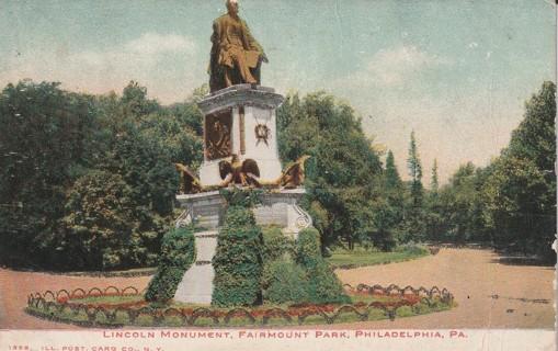 Vintage Used Postcard: 1907 Lincoln Memorial, Fairmont Park, Philadelphia, PA