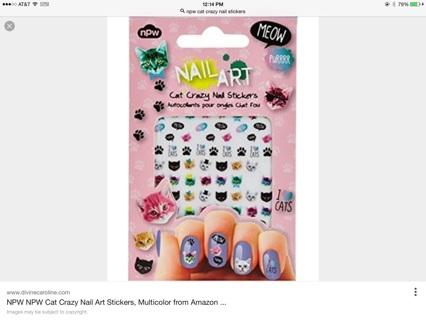 NPW Nail Art Cat Crazy Nail Stickers NIP