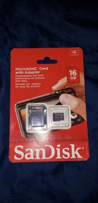 16Gb Sandisk micro SDHC cardw/adapter Never opened