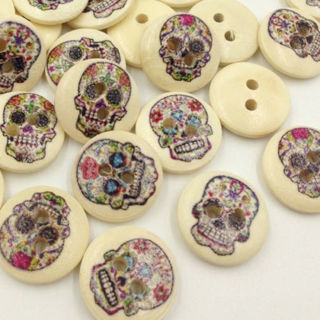 50PCs Skull Head Wood Buttons 15mm Sewing Craft Mix Lots