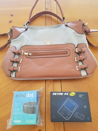 Prada Hand Bag, Retro 168 in 1 Gameboy, AND Echo Dot