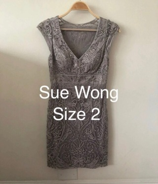 Exquisite Sue Wong Silver Beaded Cocktail Evening Dress • Fitted Stunning • Size 2 • EUC • Free Ship