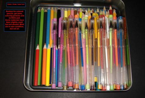 Colored Pencils, Gel Pens, Paper