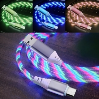[GIN FOR FREE SHIPPING] 1m USB Phone Shiny Charging Flow Light Cable LED Type C