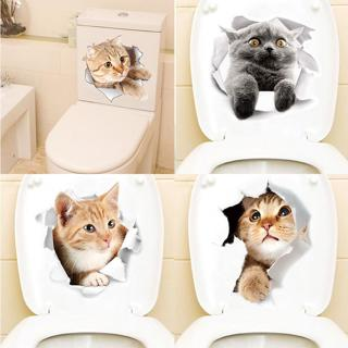 Cartoon animal stickers 3d stickers on the toilet seat for refrigerator cute cats PVC wall sticker