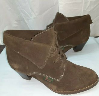 GH Bass Boots-Heel Ankle Cocoa Booties Ladies 6.5 Fabricia