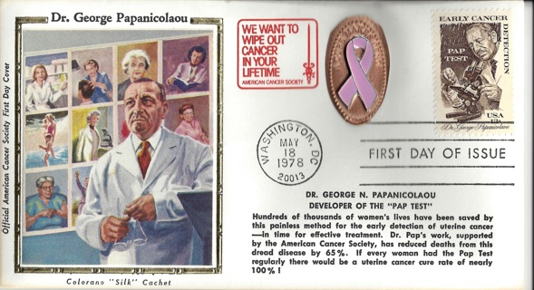 Early Cancer Detection Stamp/FDIC Cover/ A Cure Makes Cents Cancer Design Coin/Ribbon
