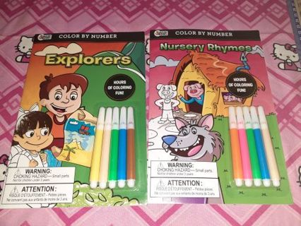 ⚛✨⚛✨⚛2 BRAND NEW COLOR BY NUMBER BOOKS WITH MARKERS⚛✨⚛✨⚛(EXPLORERS & NURSERY RHYMES)