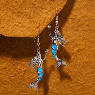 [GIN FOR FREE SHIPPING] Mermaid Silver White Blue Fire Opal Long Drop Earrings