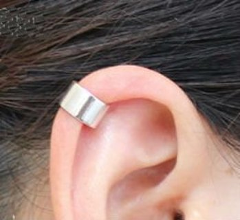NEW Silver Polished Wide Band Ear Cuffs Set