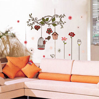 Removable Bedroom Living Room Flower Bird Cage Wall Stickers Art Vinyl Decal DIY