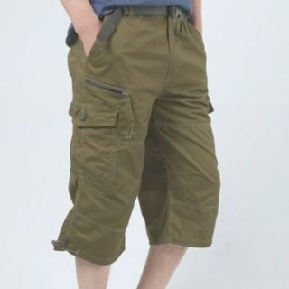Summer shants with pockets military zippers cargo shorts long breeches Army green khaki For men
