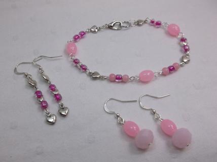 Hearts Pink Bracelet & Earrings Set