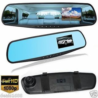 "2.8"" HD 1080P Dual Lens Car DVR Rearview Mirror Camera Video Recorder Dash Cam"