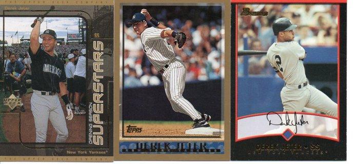 (3) Derek Jeter Baseball Cards Yankees