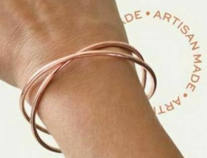 Rose Gold Criss Cross Bangle Bracelet Cuff with Pouch NWT
