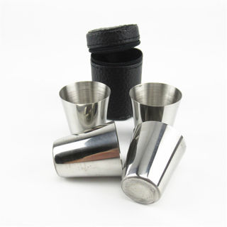 4Pcs Stainless Steel Shot Glass Cup Drinking Mug w/ PU Leather Cover Case Travel