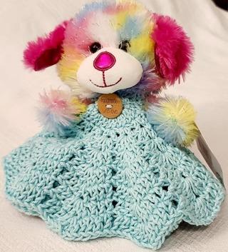 "Baby Security Cuddle Blankie 7""Teddy Bear 8"" CROCHET BLANKET"