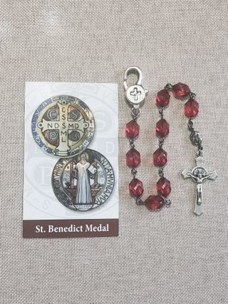 Beautiful red faceted bead one decade pocket clip rosary