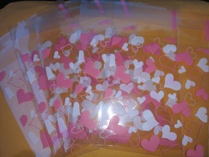 Sweet heart 5 pc self adhesive gift / jewelry treat bags No refunds! Lowest gins win 2 get bonus!