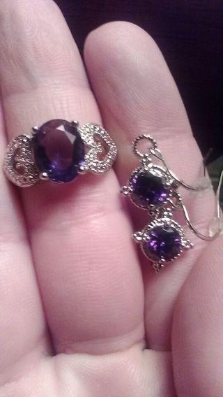 Silvertone w/ Amethyst-type Stones Earring & Ring Lot + More Added!