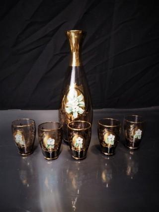 Vintage Smoky Decanter & Liqueur Glass Set Hand Painted 24k Gold Trim